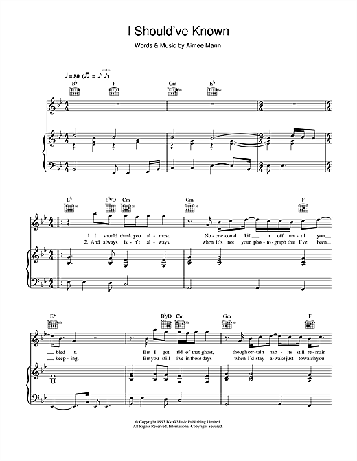 Aimee Mann I Should've Known sheet music notes and chords. Download Printable PDF.