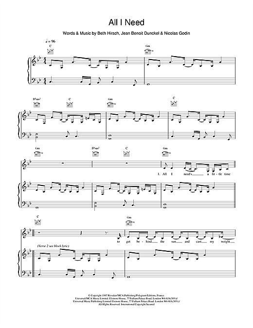 Air All I Need sheet music notes and chords. Download Printable PDF.