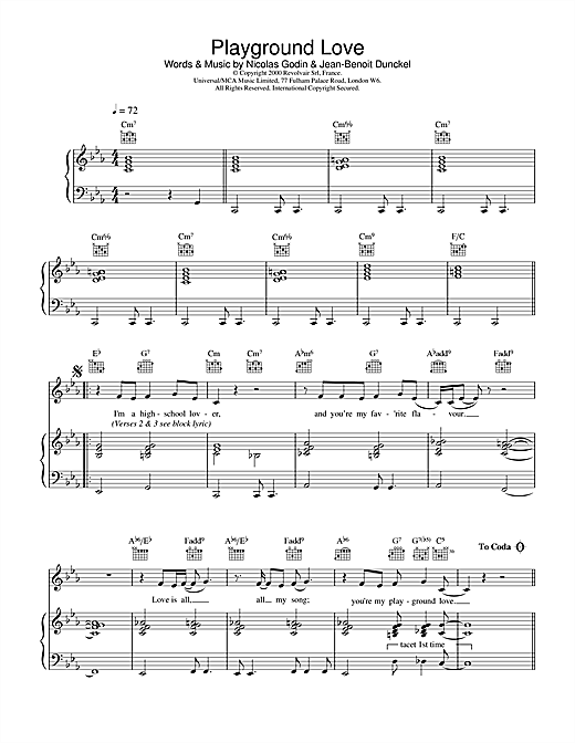 Air Playground Love (from The Virgin Suicides) sheet music notes and chords. Download Printable PDF.