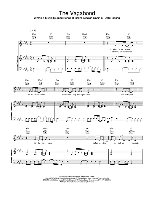 Air The Vagabond sheet music notes and chords