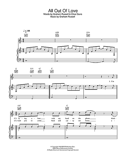 Air Supply All Out Of Love sheet music notes and chords. Download Printable PDF.