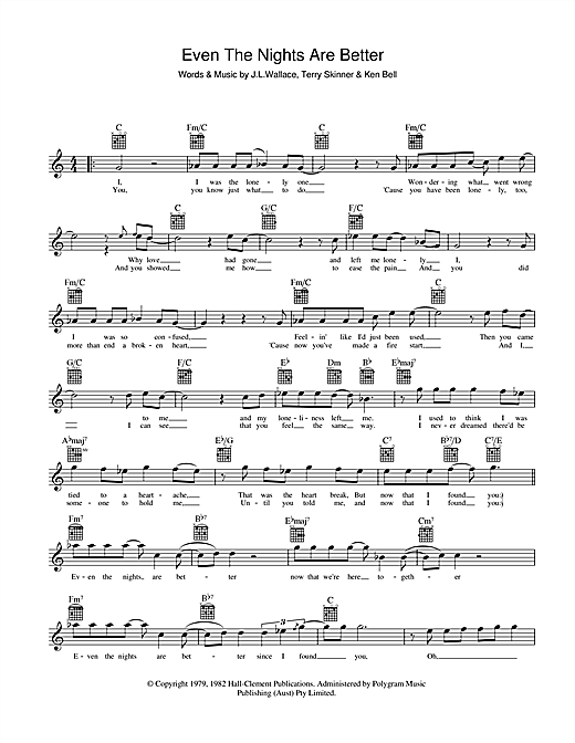 Air Supply Even The Nights Are Better sheet music notes and chords. Download Printable PDF.