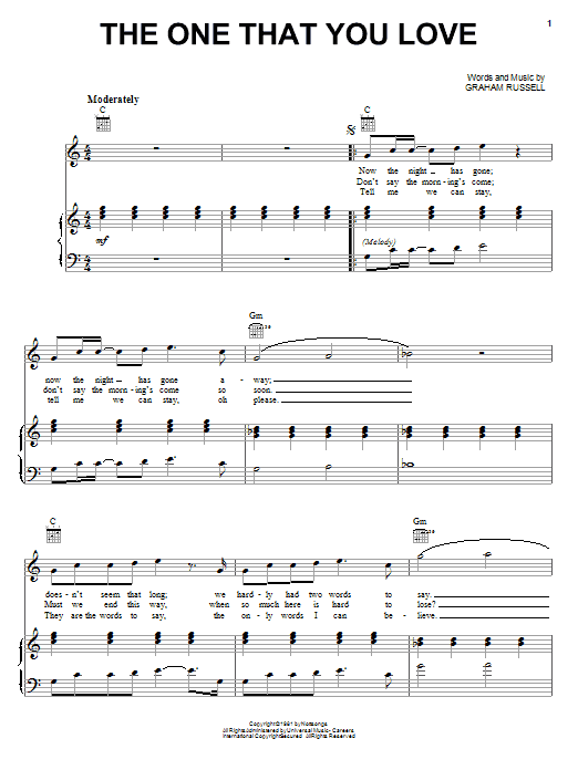 Air Supply The One That You Love sheet music notes and chords. Download Printable PDF.