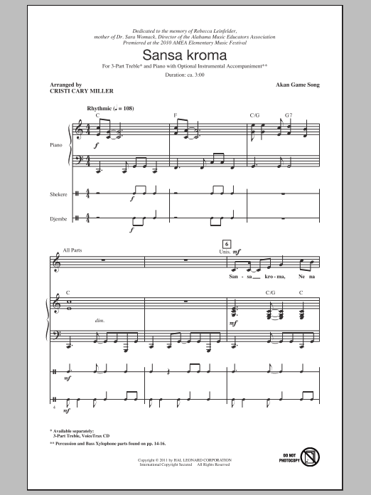 Akan Game Song Sansa Kroma (arr. Cristi Cary Miller) sheet music notes and chords. Download Printable PDF.