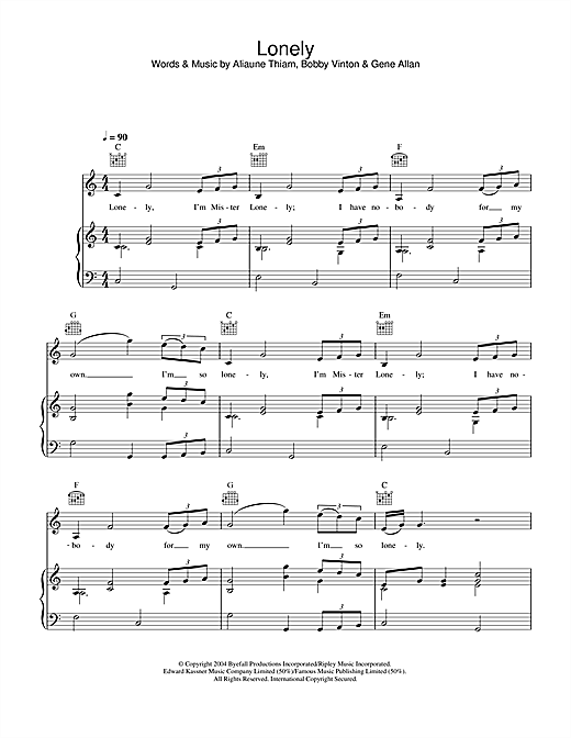 Akon Lonely sheet music notes and chords