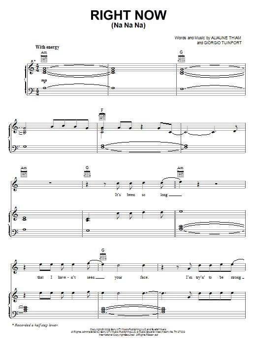 Akon 'Right Now (Na Na Na)' Sheet Music Notes, Chords | Download Printable  Piano, Vocal & Guitar (Right-Hand Melody) - SKU: 67628