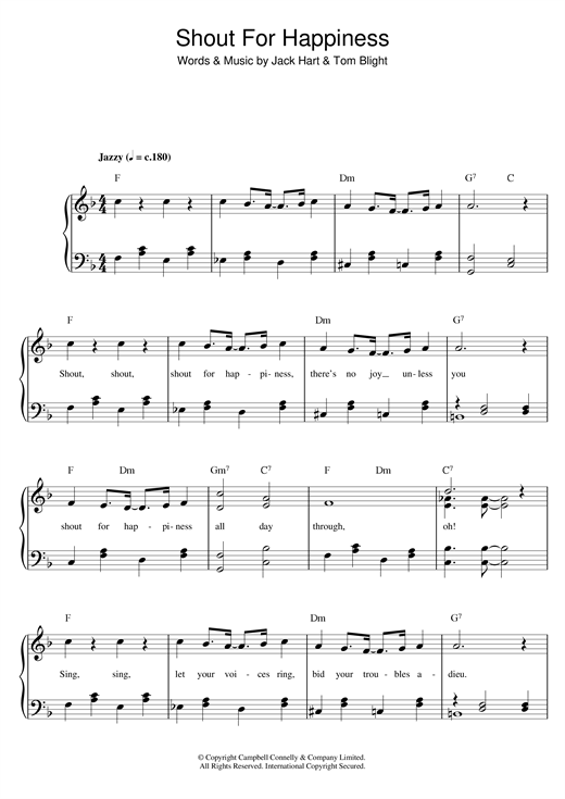 Al Bowlly Shout For Happiness sheet music notes and chords. Download Printable PDF.