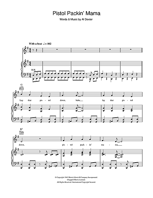 Al Dexter Pistol Packin' Mama sheet music notes and chords. Download Printable PDF.