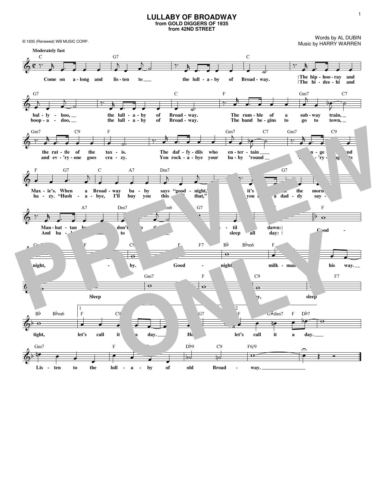 Al Dubin Lullaby Of Broadway sheet music notes and chords