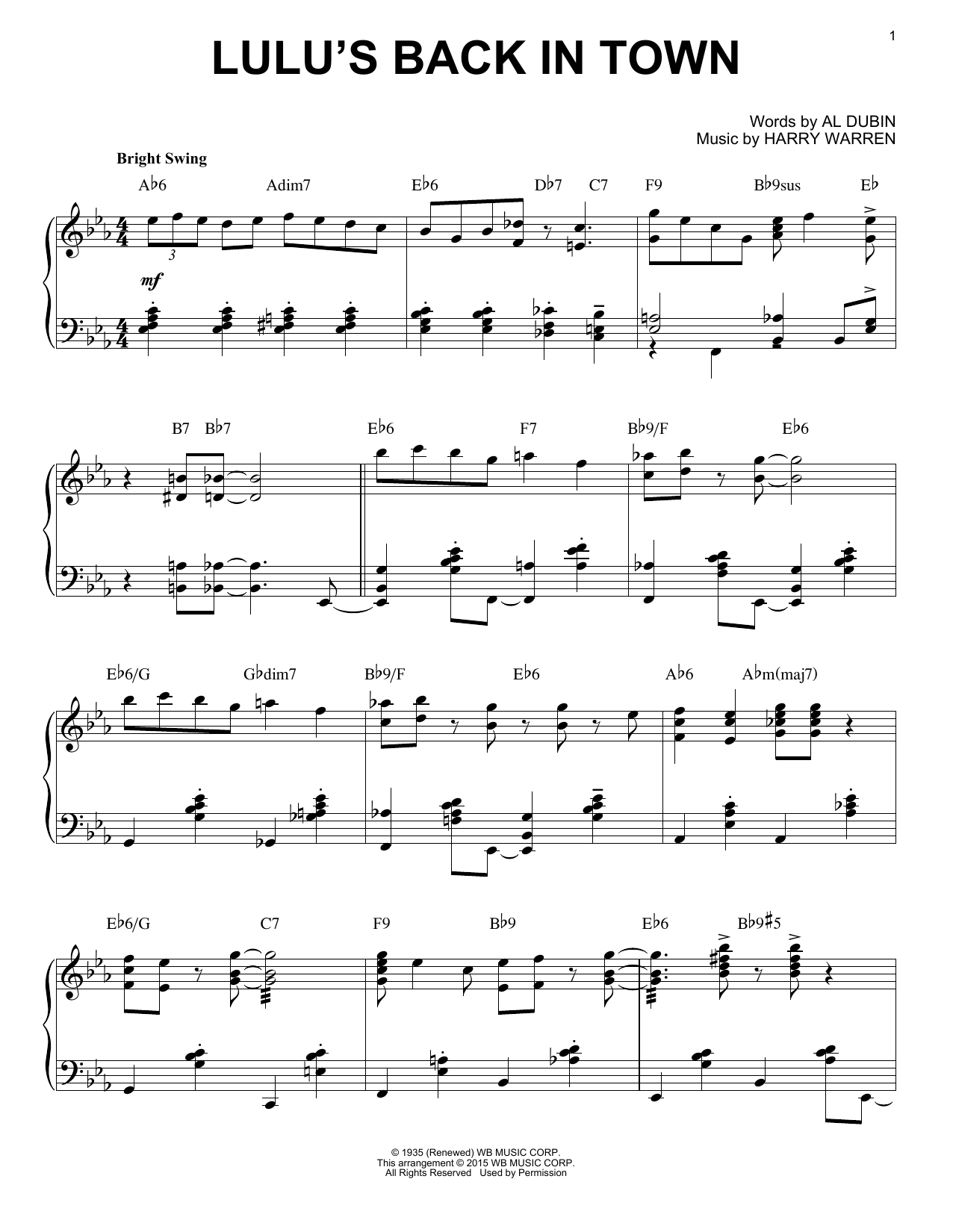 Al Dubin Lulu's Back In Town [Stride version] (arr. Brent Edstrom) sheet music notes and chords. Download Printable PDF.