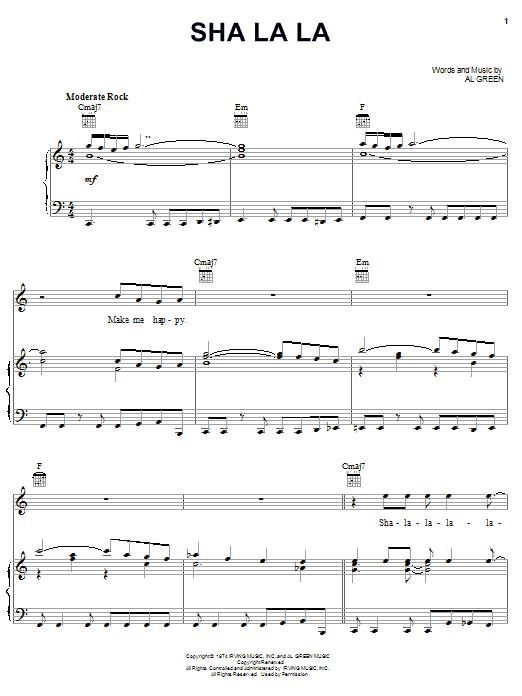 Al Green Sha La La sheet music notes and chords. Download Printable PDF.