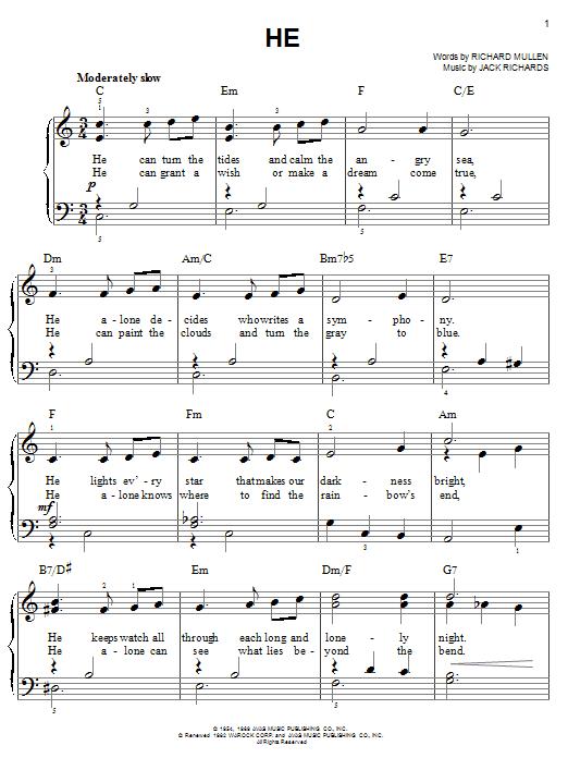 Al Hibbler He sheet music notes and chords. Download Printable PDF.