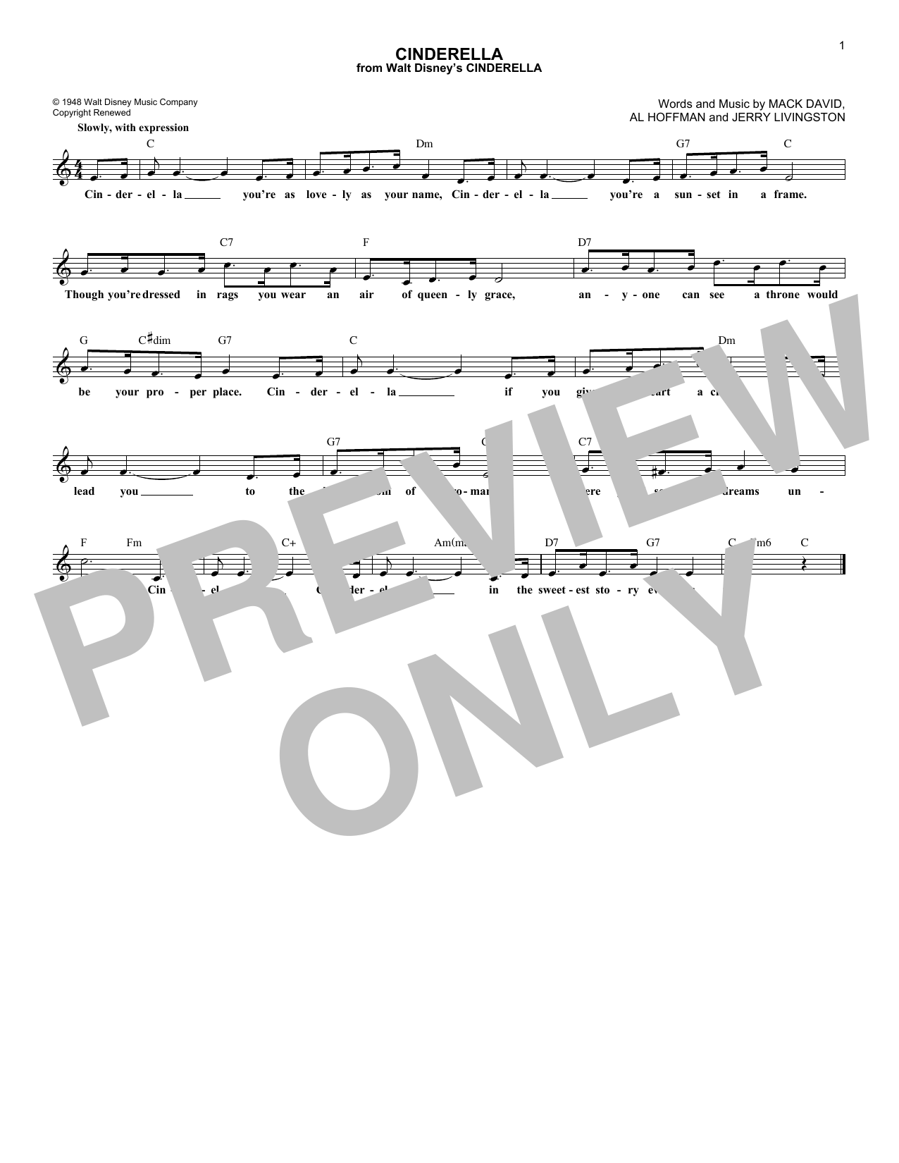 Al Hoffman Cinderella sheet music notes and chords