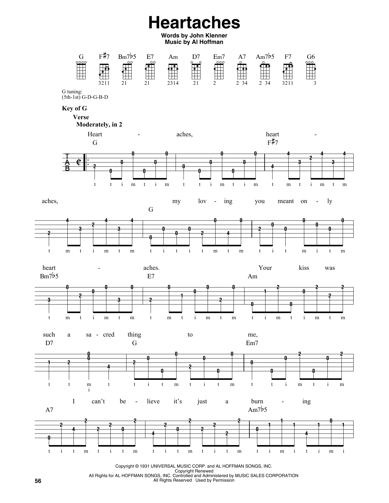 Al Hoffman Heartaches sheet music notes and chords. Download Printable PDF.