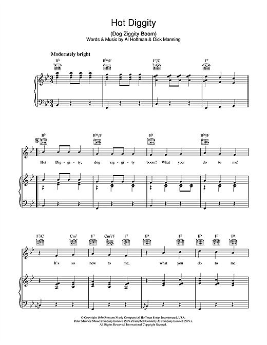 Al Hoffman Hot Diggity (Dog Ziggity Boom) sheet music notes and chords. Download Printable PDF.