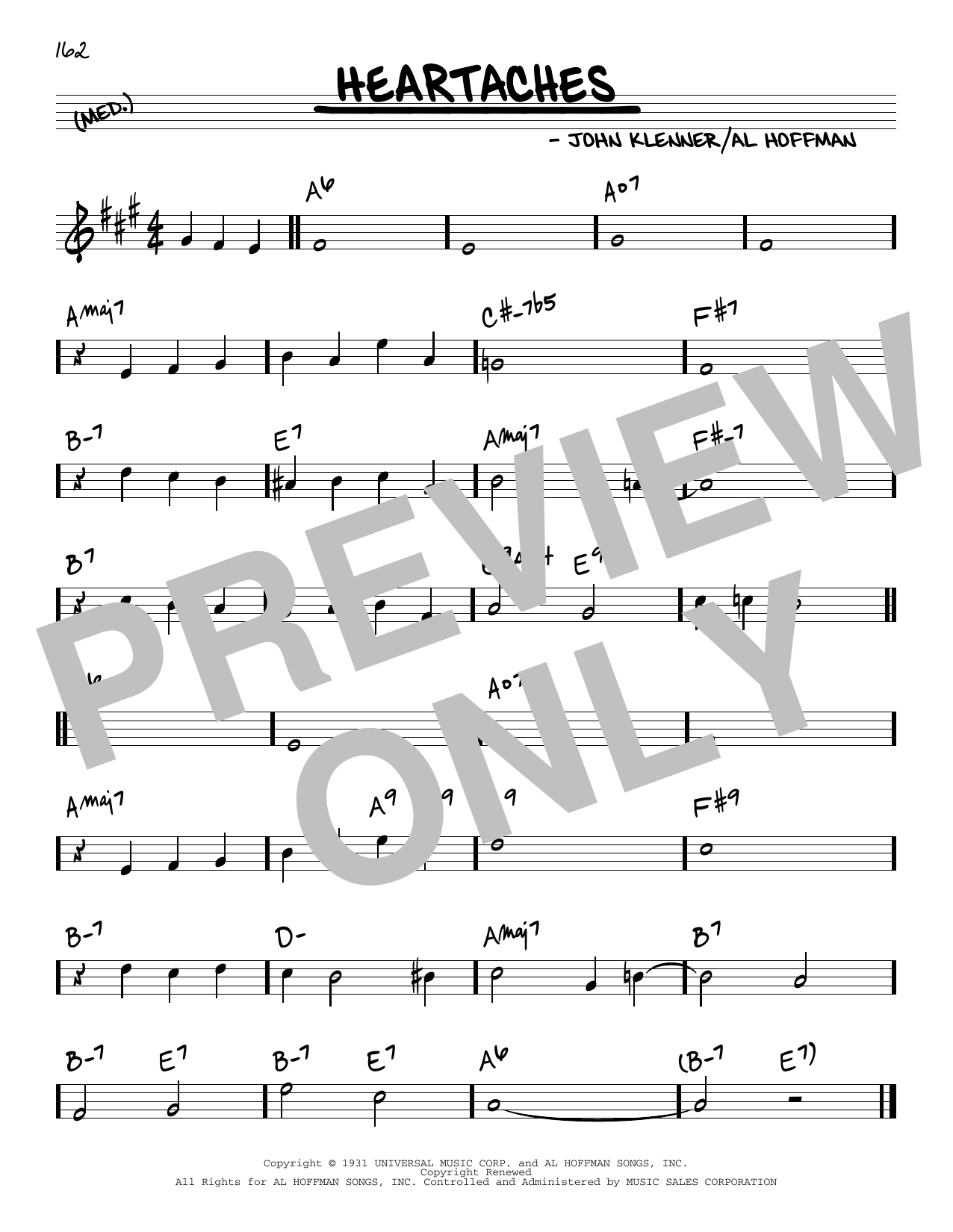 Al Hoffman and John Klenner Heartaches sheet music notes and chords. Download Printable PDF.