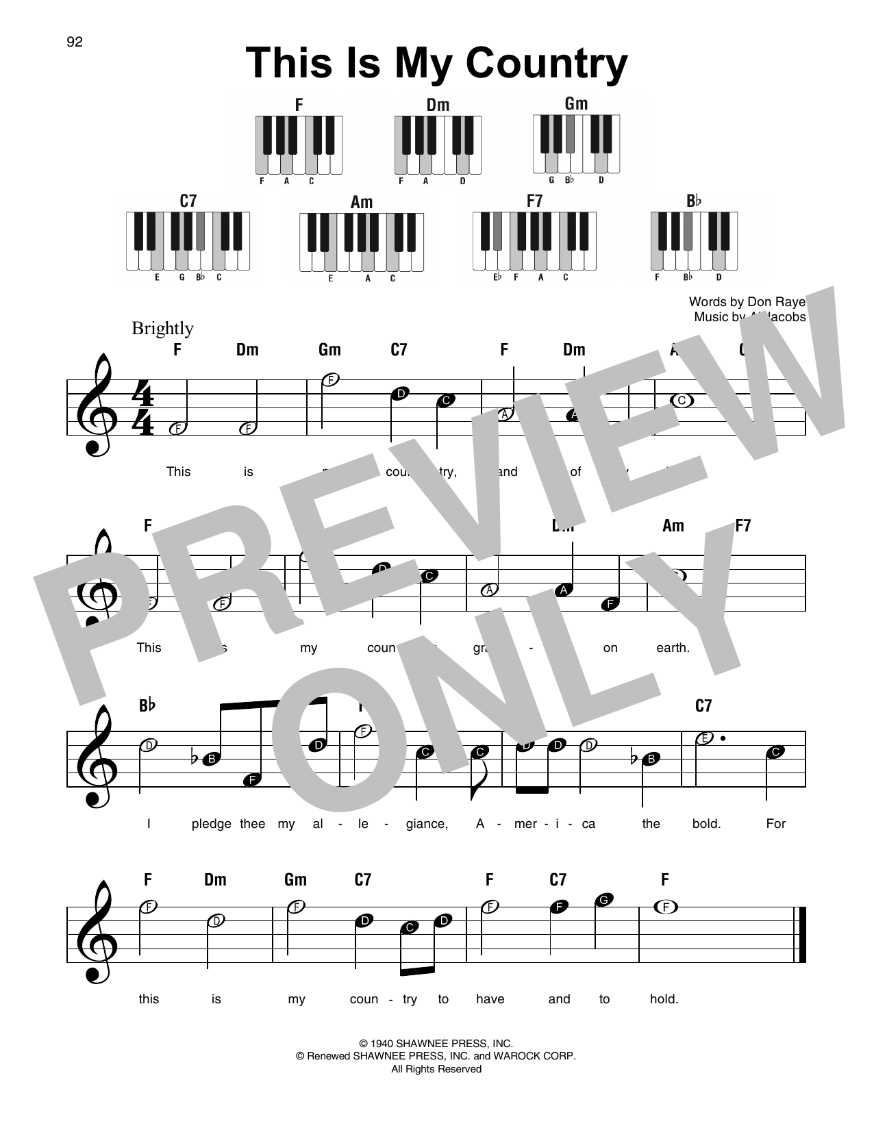 Al Jacobs This Is My Country sheet music notes and chords