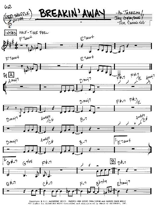 Al Jarreau Breakin' Away sheet music notes and chords. Download Printable PDF.