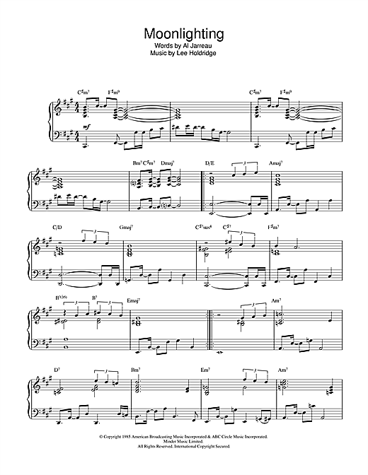 Al Jarreau Moonlighting sheet music notes and chords. Download Printable PDF.