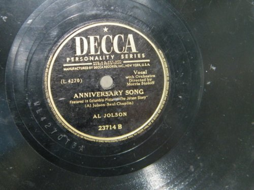 Al Jolson, Anniversary Song, Piano, Vocal & Guitar (Right-Hand Melody)