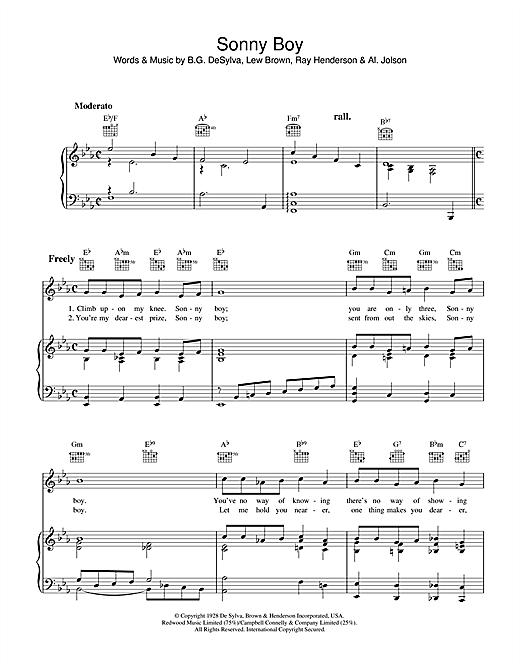 Al Jolson Sonny Boy sheet music notes and chords. Download Printable PDF.