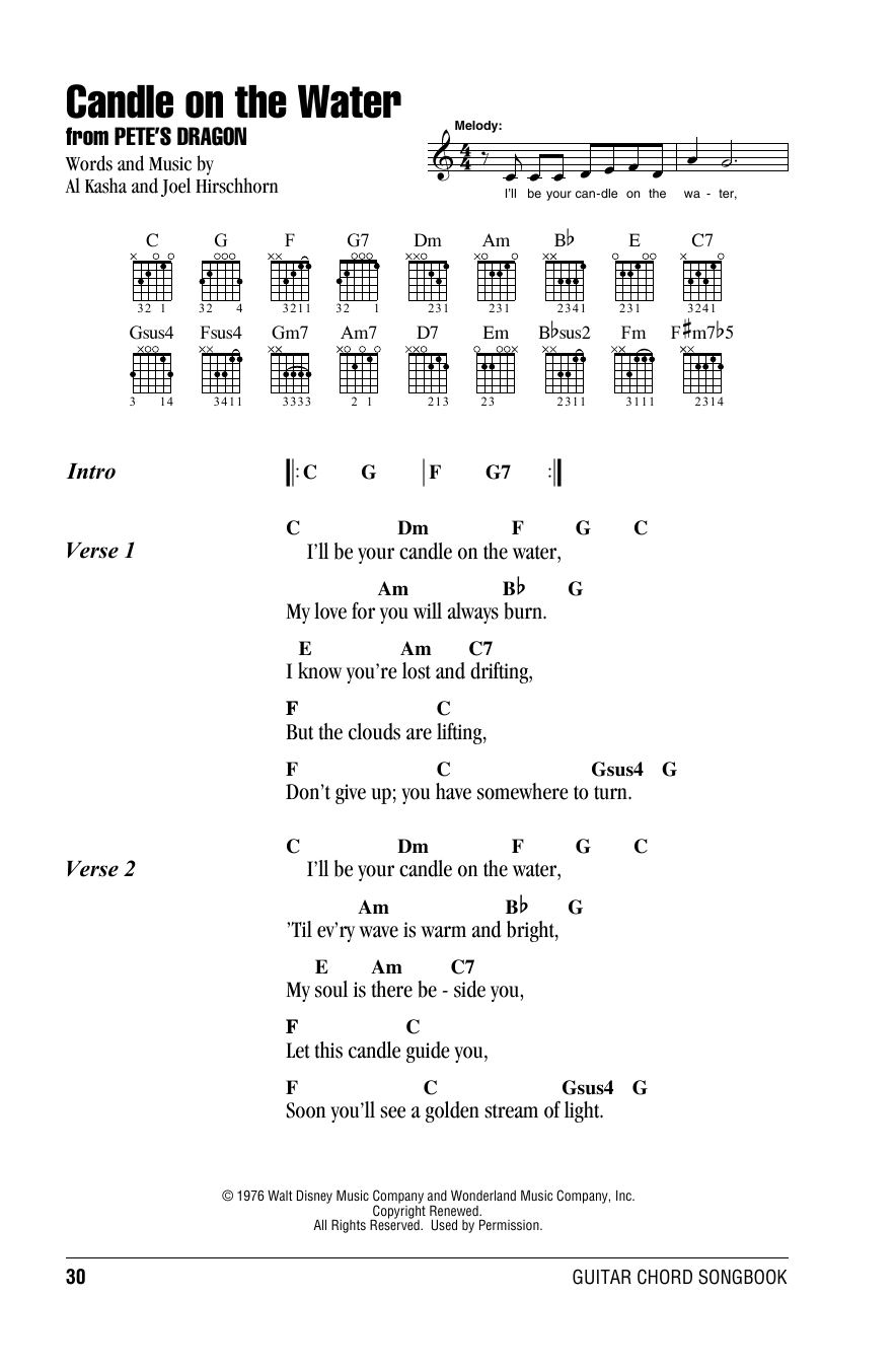 Al Kasha Candle On The Water (from Pete's Dragon) sheet music notes and chords. Download Printable PDF.