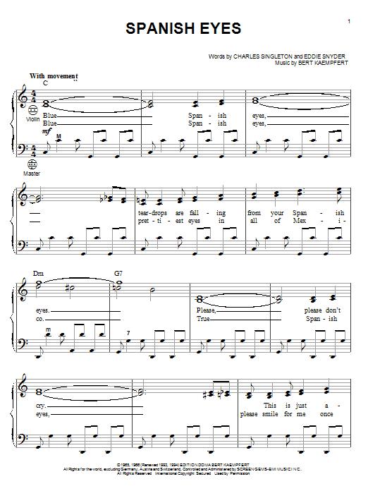 Al Martino Spanish Eyes sheet music notes and chords. Download Printable PDF.