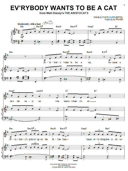 Al Rinker Ev'rybody Wants To Be A Cat (from Walt Disney's The Aristocats) sheet music notes and chords. Download Printable PDF.