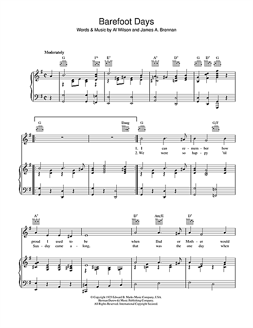 Al Wilson Barefoot Days sheet music notes and chords. Download Printable PDF.
