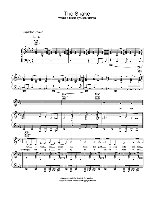 Al Wilson The Snake sheet music notes and chords. Download Printable PDF.