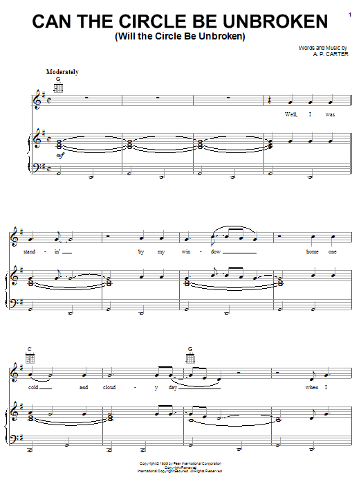 Alabama Can The Circle Be Unbroken (Will The Circle Be Unbroken) sheet music notes and chords. Download Printable PDF.