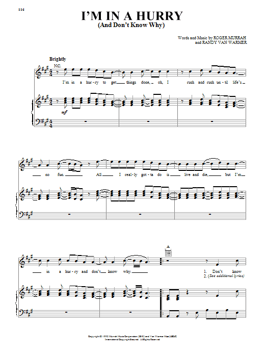 Alabama I'm In A Hurry (And Don't Know Why) sheet music notes and chords. Download Printable PDF.