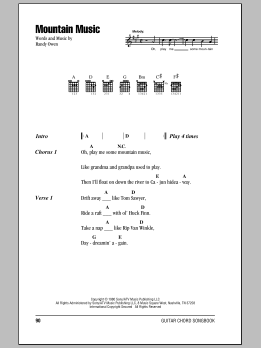 Alabama Mountain Music sheet music notes and chords
