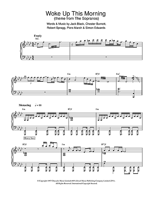 Alabama 3 Woke Up This Morning (Theme from The Sopranos) sheet music notes and chords. Download Printable PDF.