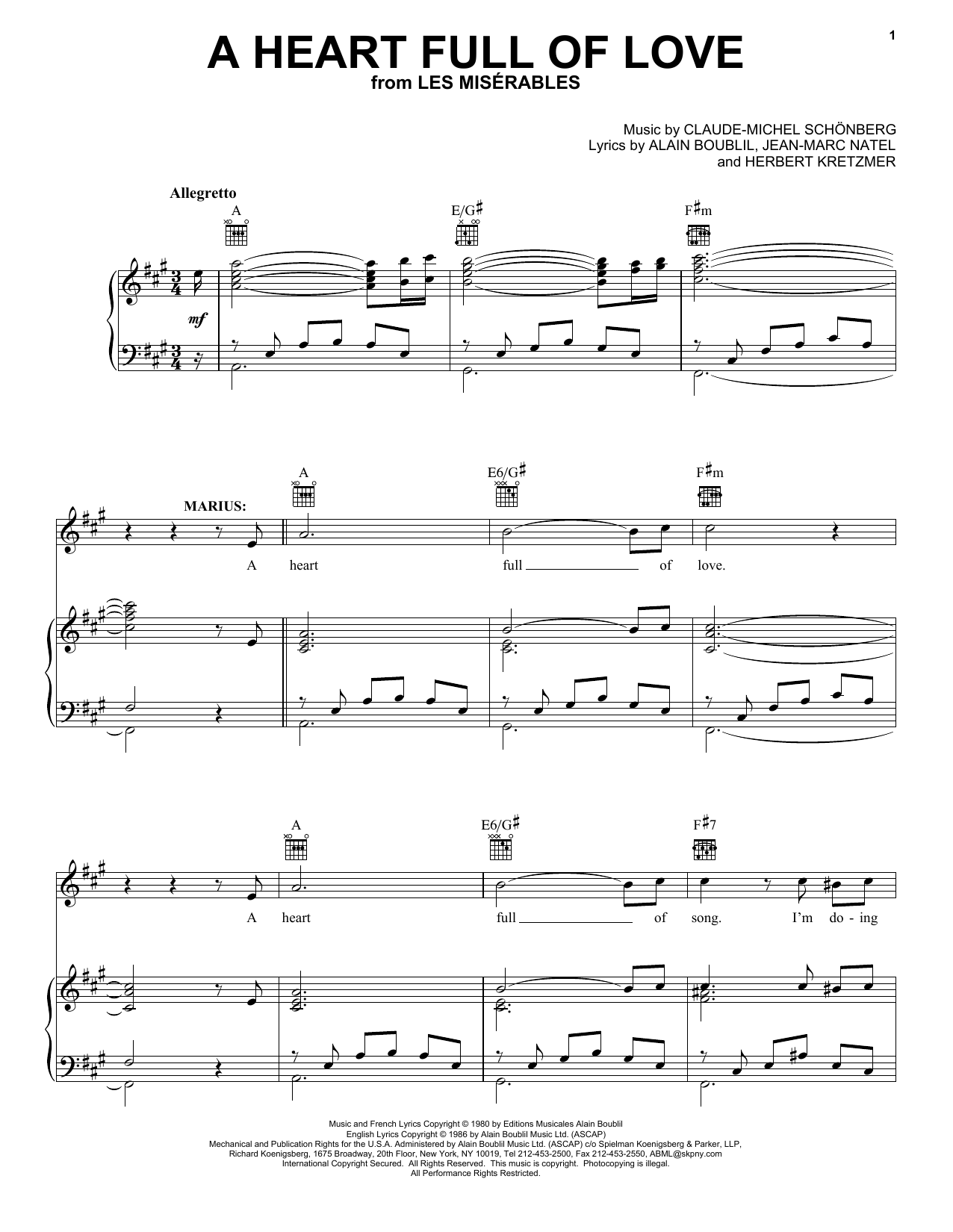 Alain Boublil A Heart Full Of Love sheet music notes and chords. Download Printable PDF.