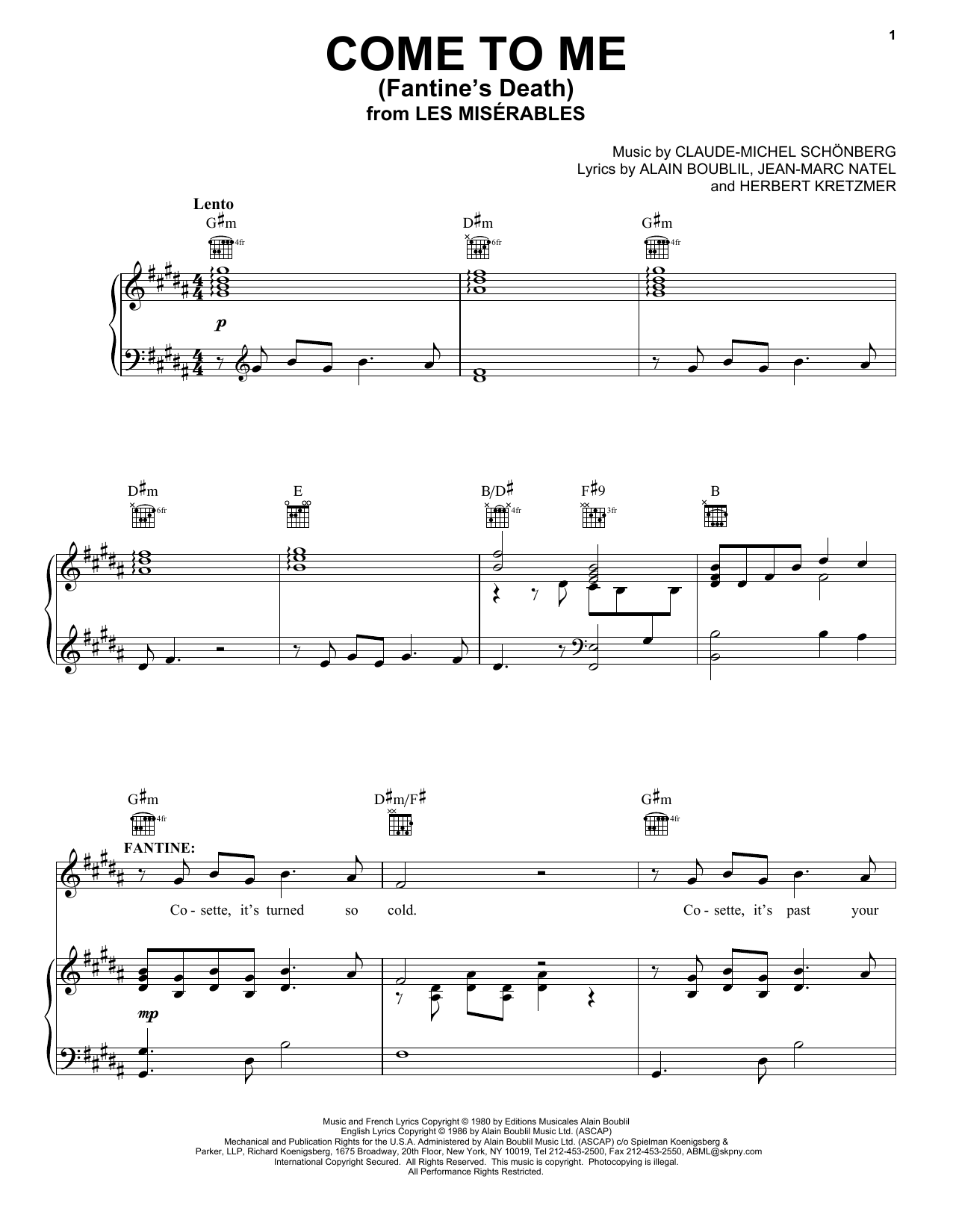 Alain Boublil Come To Me (Fantine's Death) sheet music notes and chords. Download Printable PDF.
