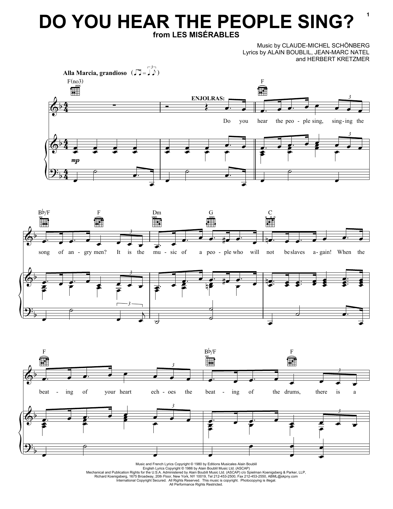 Boublil and Schonberg Do You Hear The People Sing? (from Les Miserables) sheet music notes and chords. Download Printable PDF.