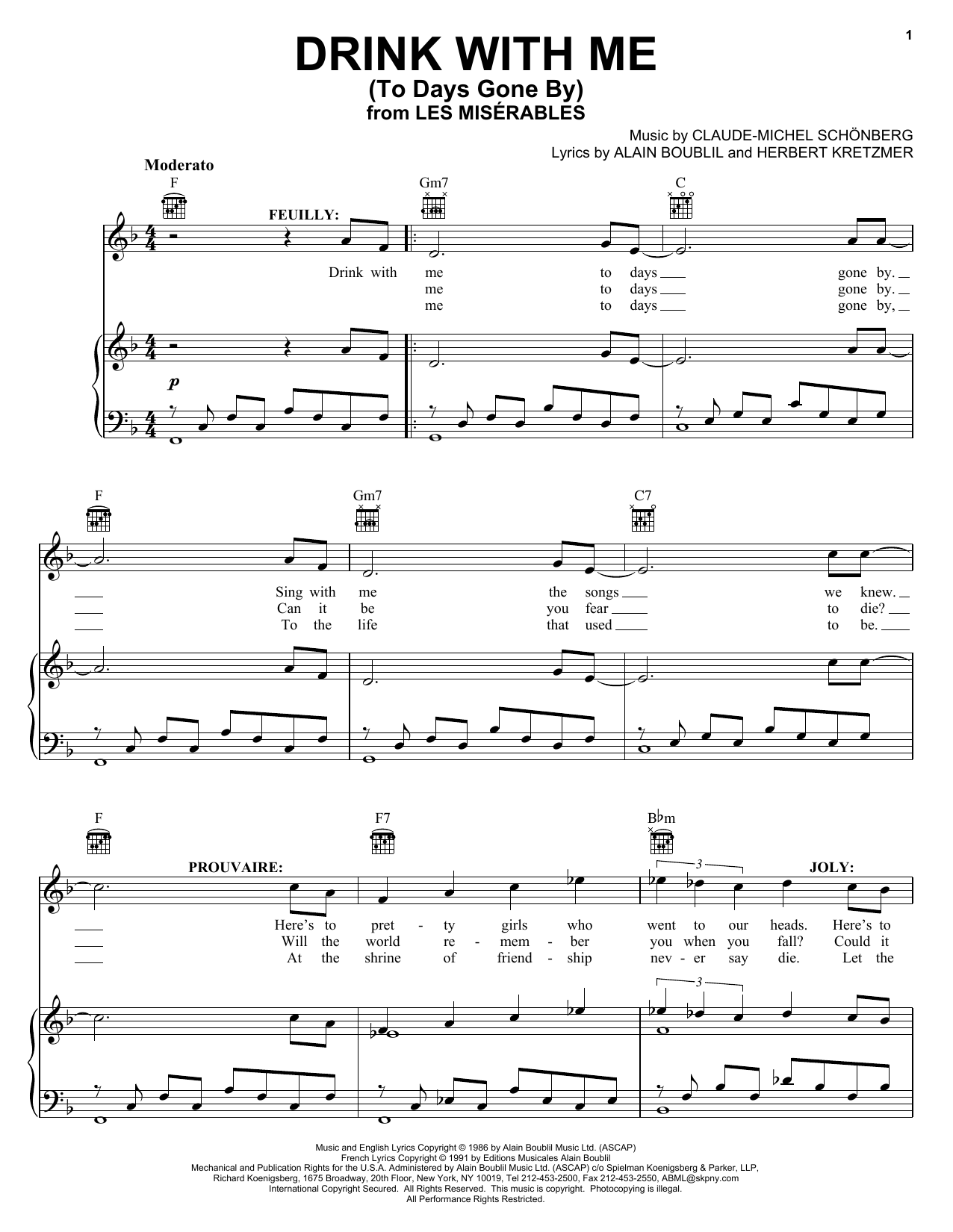 Alain Boublil Drink With Me (To Days Gone By) sheet music notes and chords. Download Printable PDF.