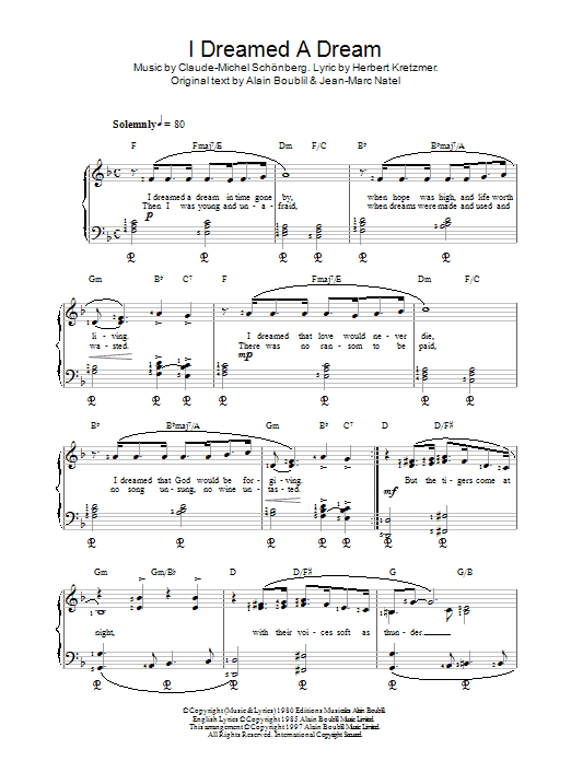 Alain Boublil I Dreamed A Dream (from Les Miserables) sheet music notes and chords. Download Printable PDF.