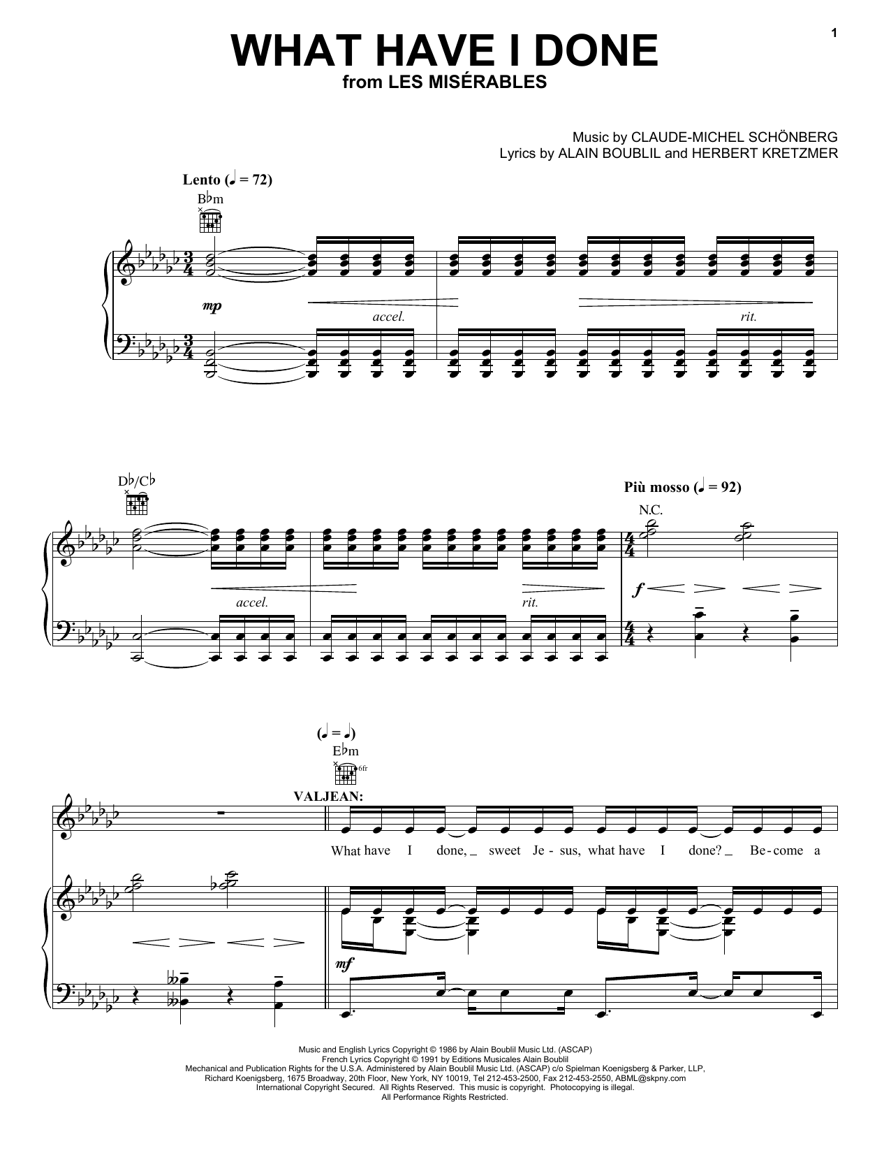 Alain Boublil What Have I Done sheet music notes and chords. Download Printable PDF.