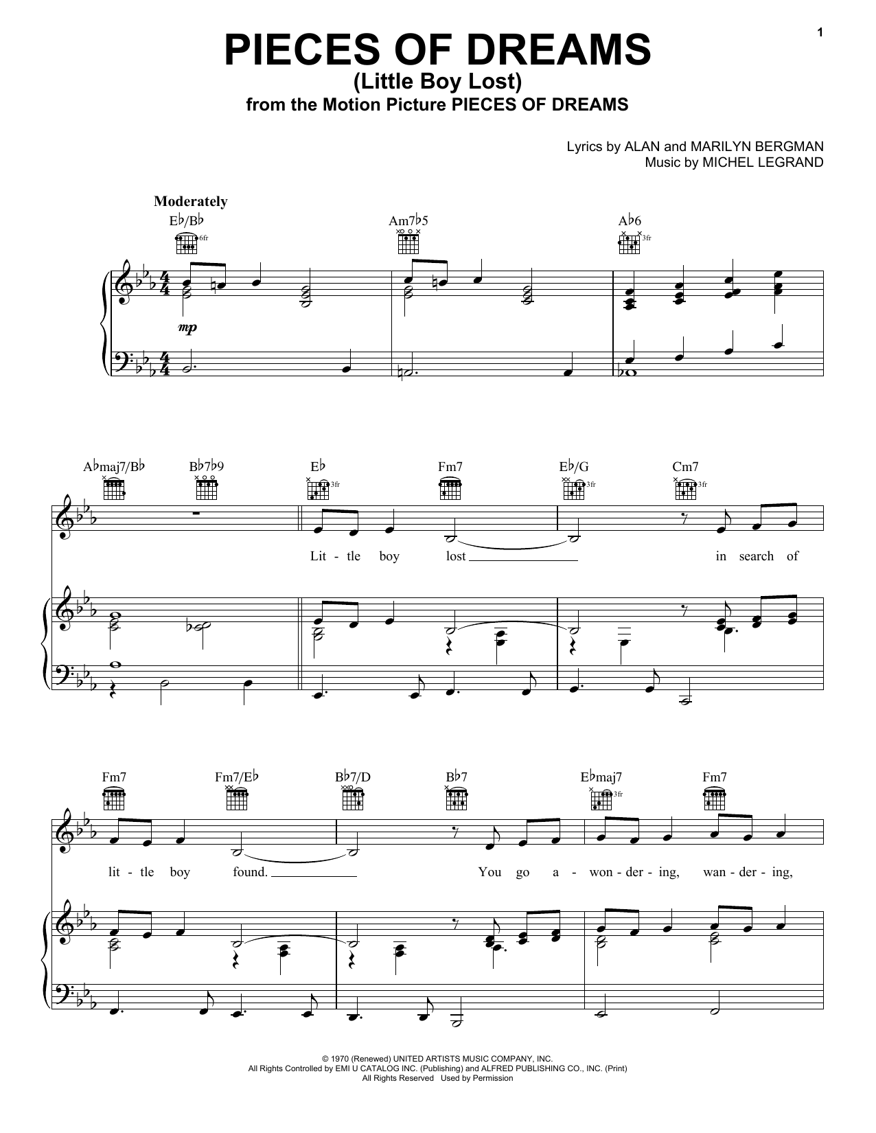 Alan Bergman Pieces Of Dreams (Little Boy Lost) sheet music notes and chords. Download Printable PDF.