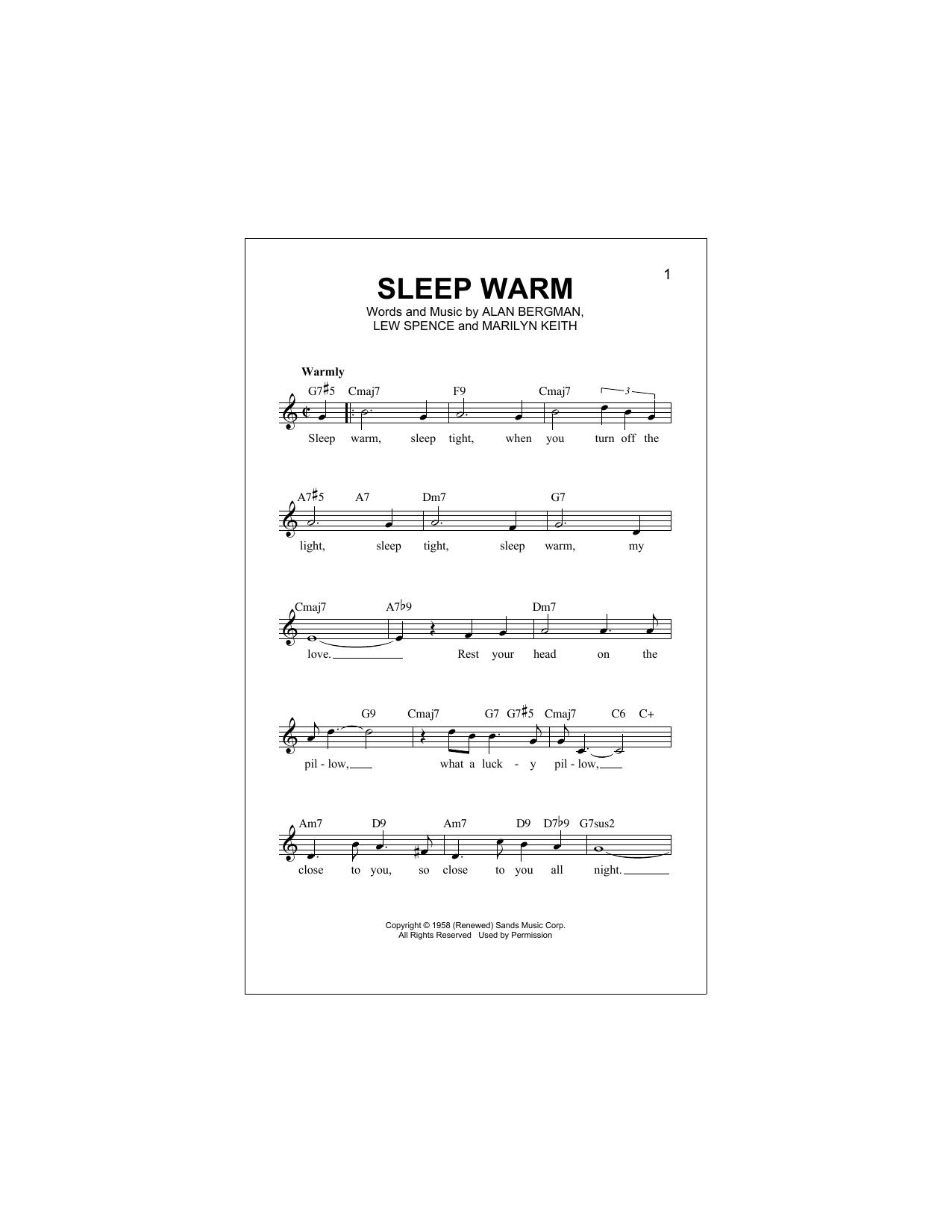 Alan Bergman Sleep Warm sheet music notes and chords. Download Printable PDF.