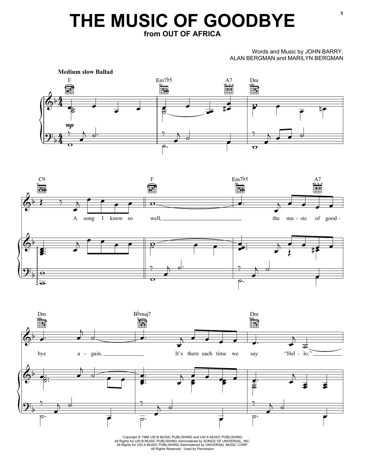 Alan Bergman The Music Of Goodbye sheet music notes and chords