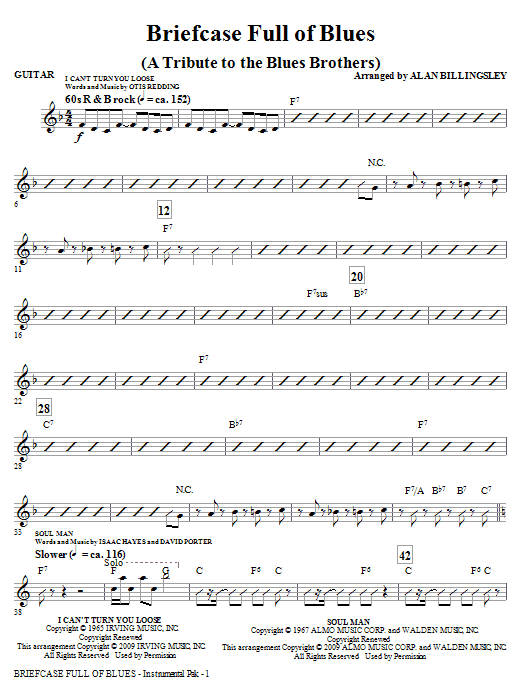 Alan Billingsley Briefcase Full Of Blues (A Tribute to the Blues Brothers) - Guitar sheet music notes and chords. Download Printable PDF.