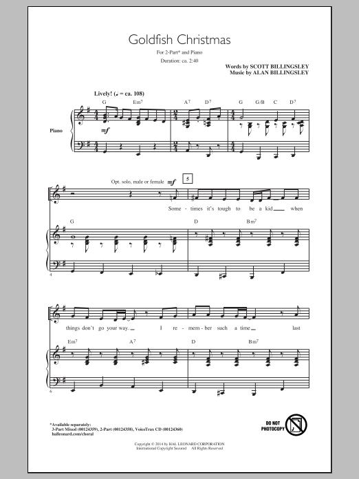 Alan Billingsley Goldfish Christmas sheet music notes and chords. Download Printable PDF.
