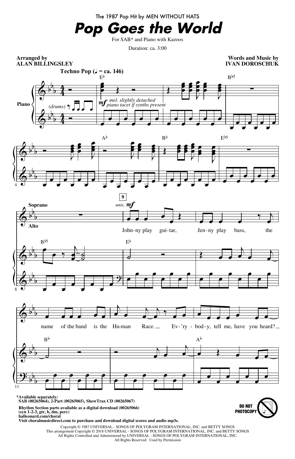 Alan Billingsley Pop Goes The World sheet music notes and chords. Download Printable PDF.