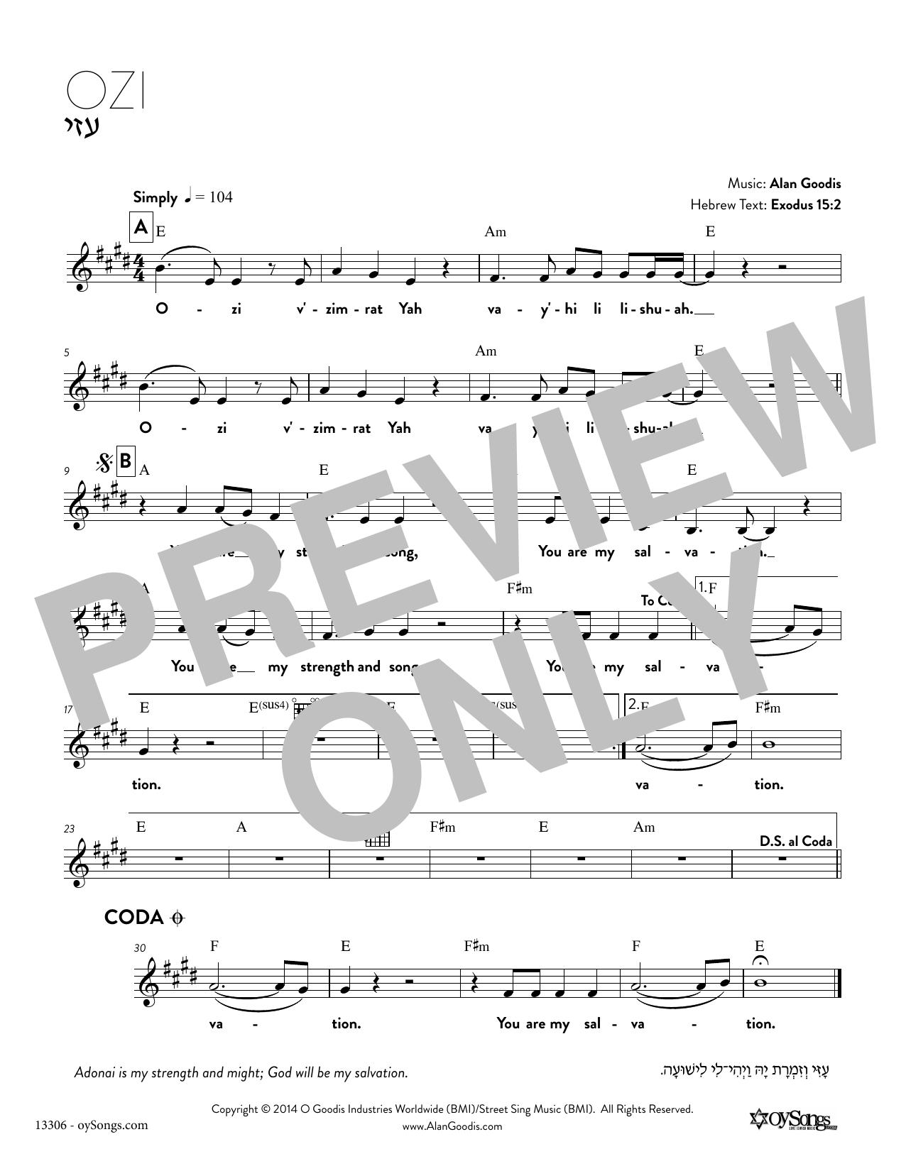 Alan Goodis Ozi sheet music notes and chords. Download Printable PDF.