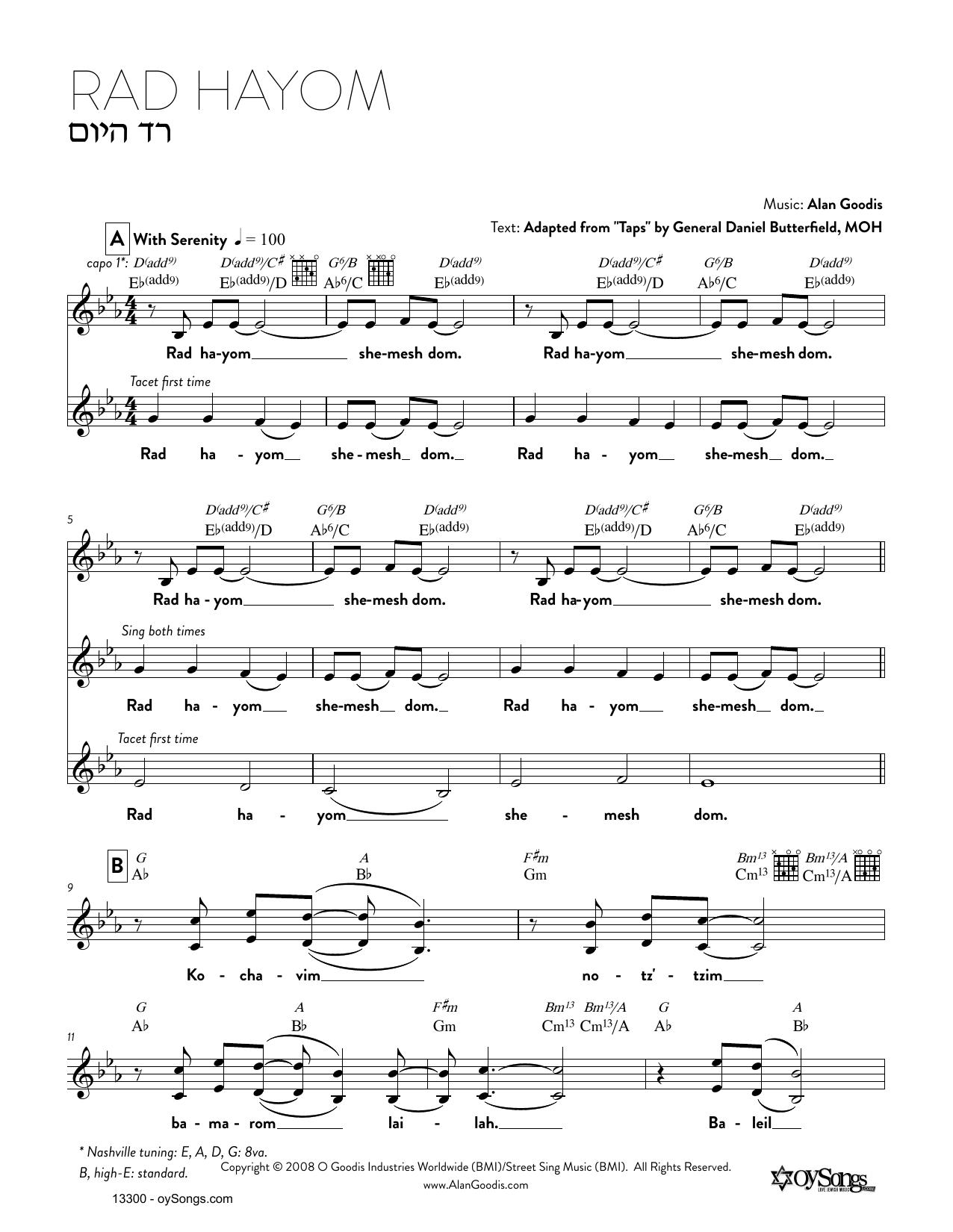 Alan Goodis Rad Hayom sheet music notes and chords. Download Printable PDF.