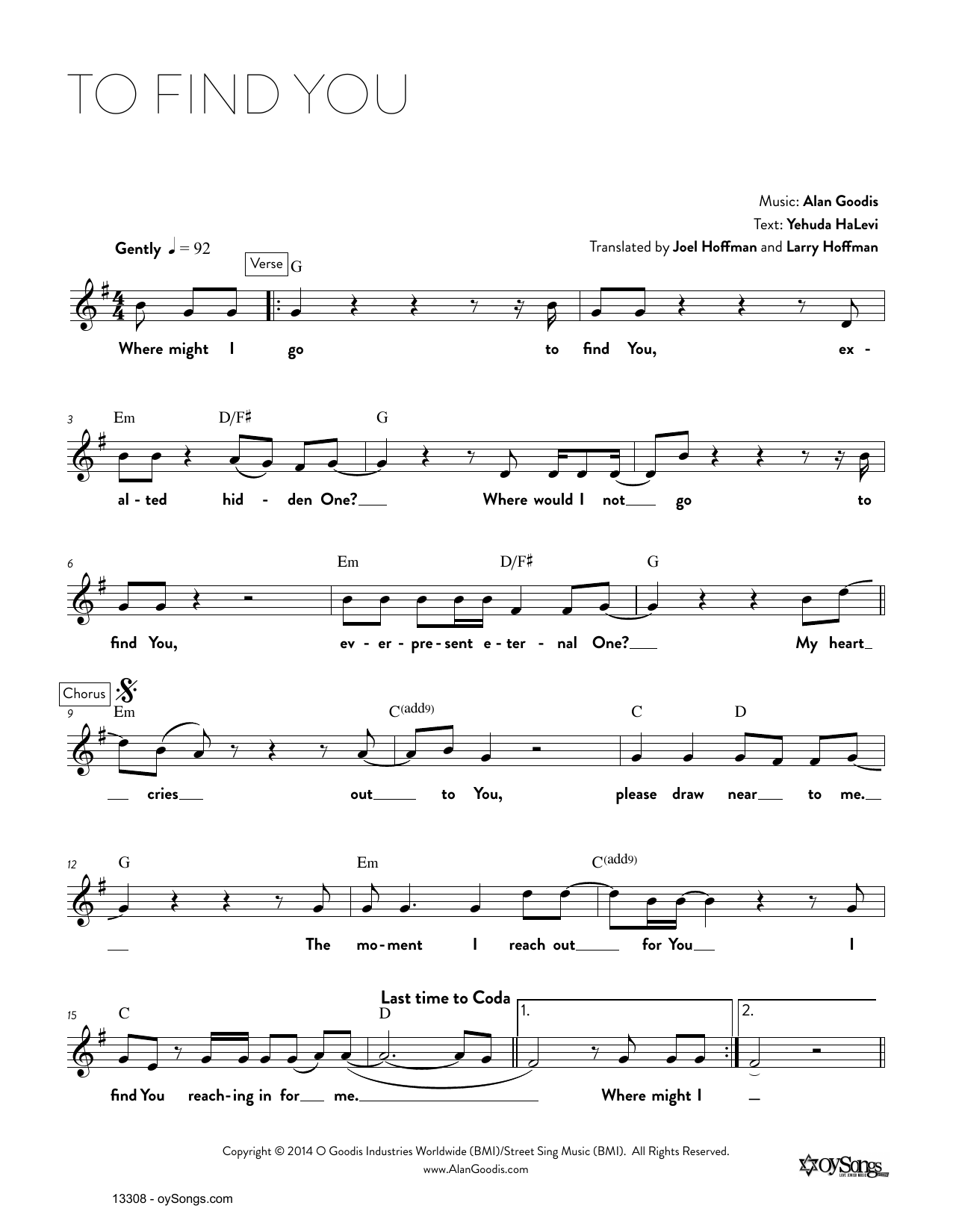 Alan Goodis To Find You sheet music notes and chords. Download Printable PDF.