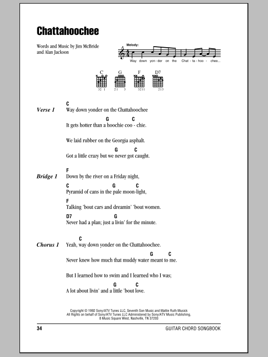 Alan Jackson Chattahoochee sheet music notes and chords